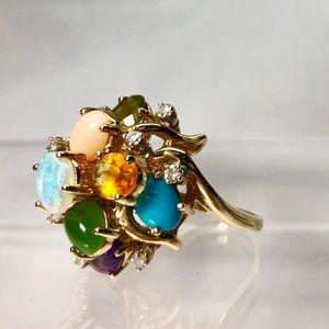 Jewelry - 14KT Yellow Gold Multi-Gem & Diamond Ring